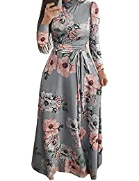 Vestido Largo de impresión de Las Mujeres, Vestido Largo de la Manga Larga
