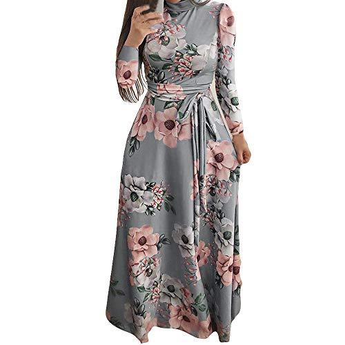 Sannysis Damen Maxikleid Langes Elegantes Kleid Langarm Hoch Geschnitten Bodenlang Blumenkleid Blumedrucken Strandkleid Slim Partykleid -