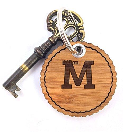Mr. & Mrs. Panda Schlüsselanhänger Milan - 100% handgefertigt aus Bambus Holz - Anhänger, Geschenk, Vorname, Name, Initialien, Graviert, Gravur, Schlüsselbund, handmade, exklusiv (Holz Milan)