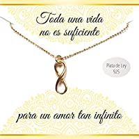 Colgante Infinito de Plata de Ley chapado en Oro amarillo | Collar con mensaje | Regalos especiales | Regalo romántico | Envío gratis