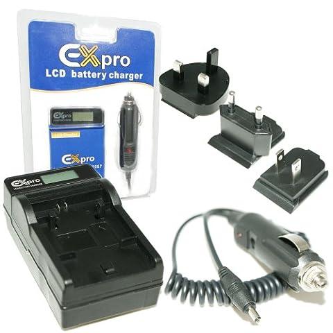 Ex-Pro® Sony NP-FM30, NP-FM50, NP-FM51, NP-FM70, NP-FM71, NP-FM90, NP-FM91, NP-QM50, NP-QM51, NP-QM70, NP-QM71, NP-QM90, NP-QM91 - LCD Indicateur de charge Chargeur rapide de voyage numérique caméscope pour Sony DCR-TRV6, DCR-TRV8, DCR-TRV10, DCR-TRV11, DCR-TRV17, DCR-TRV18, DCR-TRV19, DCR-TRV20, DCR-TRV22, DCR-TRV22E, DCR-TRV22K, DCR-TRV25, DCR-TRV27, DCR-TRV30, DCR-TRV33, DCR-TRV33E, DCR-TRV33K, DCR-TRV38, DCR-TRV39, DCR-TRV50, DCR-TRV50E, DCR-TRV70, DCR-TRV80, DCR-TRV80E, DCR-TRV140, DCR-TRV230, DCR-TRV240, DCR-TRV250, DCR-TRV255, DCR-TRV260, DCR-TRV265E, DCR-TRV270E, DCR-TRV280, DCR-TRV285E, DCR-TRV330, DCR-TRV340, DCR-TRV350, DCR-TRV360, DCR-TRV460, DCR-TRV460E, DCR-TRV480, DCR-TRV480E, DCR-TRV530, DCR-TRV730, DCR-TRV740, DCR-TRV830, DCR-TRV840,