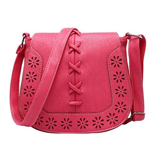 Damen Hohl Muster Kleine Umhängetasche Messengertasche Retro Klassische Schultertasche Henkeltasche Rot das wassermelone