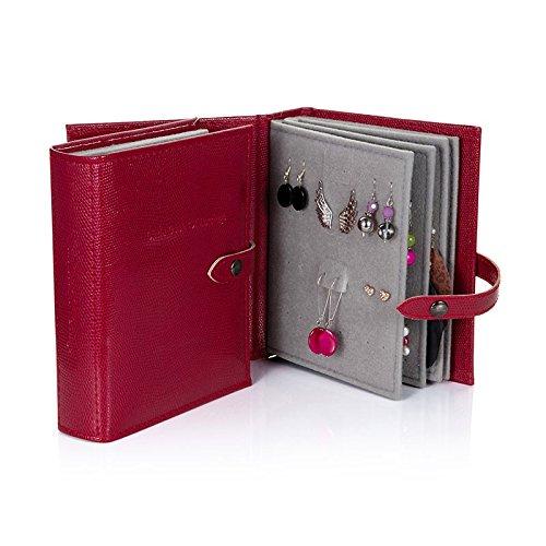 Das Kleine Buch der Ohrringe - Hält 48 Paar Ohrringe auf 4 Seiten - (Farbe Dunkelrot)