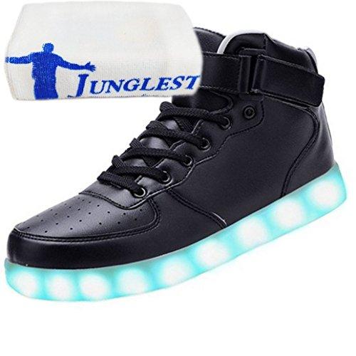 junglest® Mit Aufladen Für Lackleder Turnschuhe Leuchtend Velcro Sneaker 7 kleines present Usb Unisex Top Sport Schwarz H Sportschuhe Schuhe High Farbe Led erwachsene Handtuch XTxzEw1