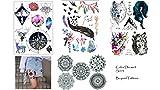 4fogli tatuaggio sticker Mandala bussola Lupo Piuma Tatuaggi Color Dream Set 3