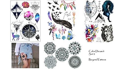 4 feuilles de tatouage stickers Mandala Boussole Wolf Ressort Tatouages Color dream Lot de 3