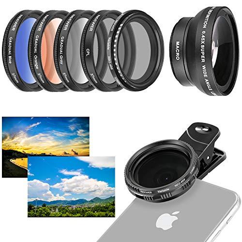 Neewer Handy-Objektiv-Zubehörset, 37 mm, inklusive 0,45x Weitwinkel-Objektiv, Clip, Farbverlaufsfilter (blau orange grau), runder Polfilter, Graufilter ND2-400Filter