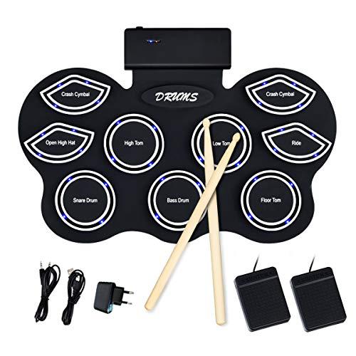 COSTWAY E-Drum mit LEDs, mobiles Drum-Set mit 9 Silikon Pads, digitales elektronisches Schlagzeug Set mit Bluetooth-Funktion, Roll-Up-Trommel inkl Pedale und Drumsticks für Kinder und Anfänger schwarz