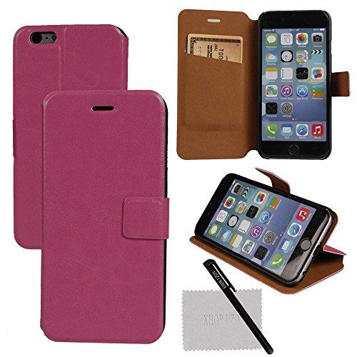 """xhorizon TM Couleur Haut de Gamme Titulaire Carte de Crédit Portefeuille Avec stand Case Cover Etui Coque Housse en cuir Pour 4.7 """"iPhone 6 Rose"""