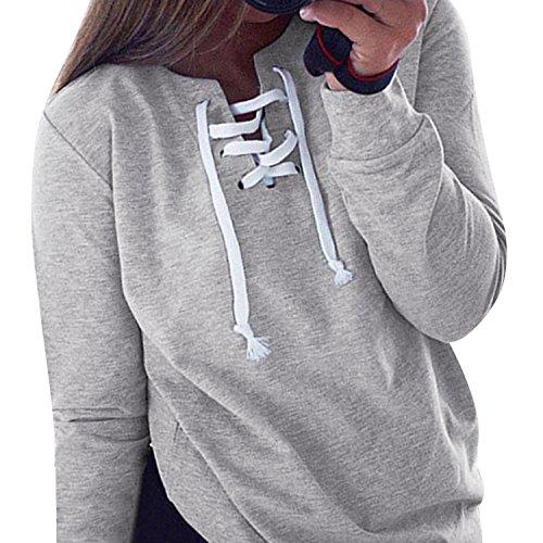 Chouette Femme/Fille Sweat-Shirt Uni Manches Longues Col V Casual Loisir Sport T-Shirt Blouse Gris