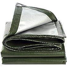 Lona de protección Verde militar + Carpa plateada Protector solar Parasol para sombrillas en Poncho Familia