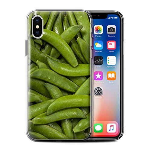 Stuff4 Gel TPU Hülle / Case für Apple iPhone X/10 / Oliven Muster / Lebensmittel Kollektion Grüne Bohnen