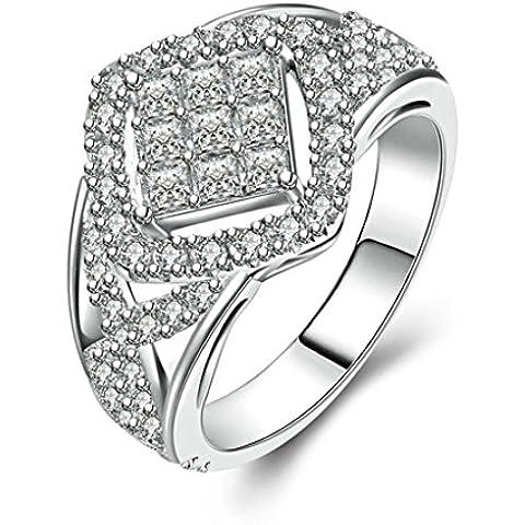 (Personalizzati Anelli)Adisaer Anelli Donna Argento 925 Anello Fidanzamento Incisione Gratuita Prismatic Anello Diamante