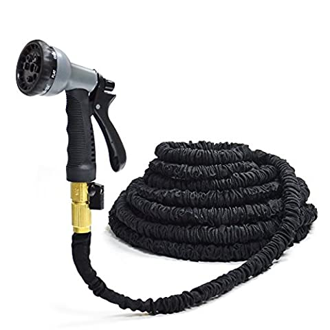 Black 100FT Stronger Double Latex Inner Tube Prevent Leaking Strongest Expandable Solid Brass (With Valve) Garden Hose with Extra Strength Fabric and Professional Spray Gun Tap to Pressure Washer