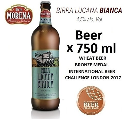 Birra Morena Lucana Bianca 4,5% alc vol - CL 75 -Wheat Beer - Blanche - Artigianale - Craft Beer - Italian Beer - Award - Best Gift Events Christmas Easter.