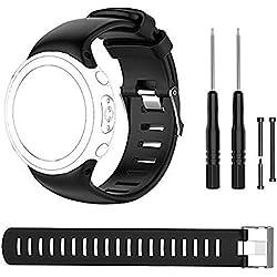 Bemodst Suunto D4Sangle de Novo Bracelets, bandes de remplacement en silicone avec des outils d'extraction pour Suunto D4/D4i montre, noir