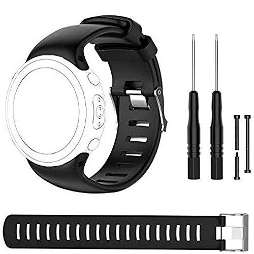 Bemodst Suunto D4 Novo Strap Ersatz-Armband, Silikon Armband Uhrenarmbänder Uhrenarmband Handschlaufe Uhr Gurt für SUUNTO D4 D4i NOVO, mit Werkzeug,Schwarz