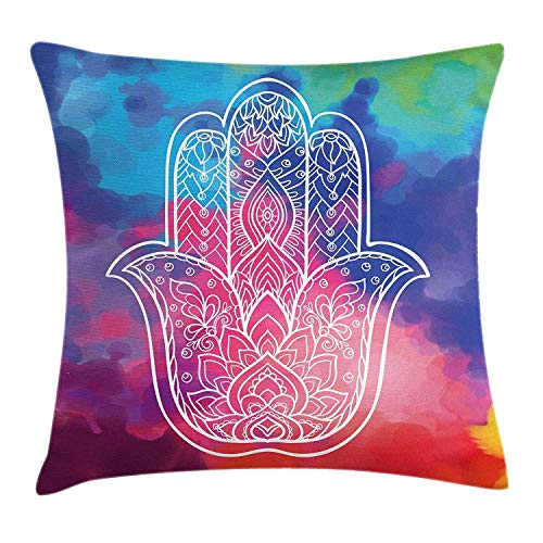 KENETOINA Hamsa Throw Pillow Cushion Cover, Colorful Watercolor Background with Hand Drawn Eastern Mantra Figure Gentle Swirls, Decorative Square Accent Pillow Case, 18 X 18 Inches