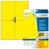 Herma 8032 Wetterfeste Folienetiketten gelb (DIN A6 105 x 148 mm) 100 Aufkleber, 25 Blatt A4 Klebefolie matt, bedruckbar, stark selbstklebend
