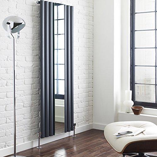 Hudson Reed Revive Radiatore Termoarredo Design Verticale con Speccio in Antracite- 1800 x 499mm - 1030 W - Pannelli Ovali - Termosifone Decorativo di Lusso - Riscaldamento ad Acqua
