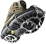 YUEDGE 18 Teeth Stainless Steel Chain Crampons Non-slip Shoes Cover Outdoor Ski Ice Snow Hiking Climbing Traction Cleats Ice Grips