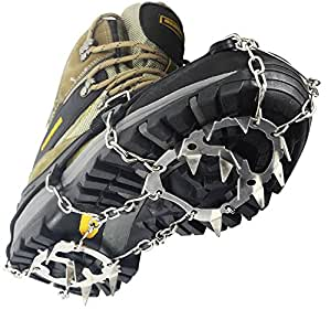 YUEDGE 18 Teeth Stainless Steel Chain Crampons Non-slip Shoes Cover Outdoor Ski Ice Snow Hiking Climbing Traction Cleats Ice Grips(L)
