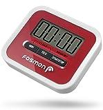 Fosmon Digitale Eieruhr/Elektronische Küchenuhr/Uhr mit Stoppuhr [Magnetisch] mit Großer LCD Digitalanzeige[Lautem Alarm & Einklappbarer Ständer] Kurzzeitmesser Küchen Timer für Kochen, Backen, Braten, Garen - Rot