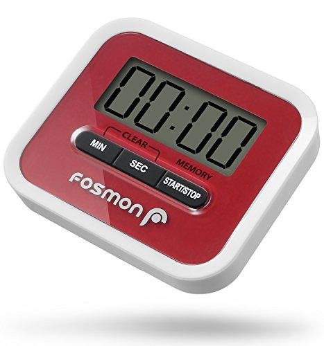 Minuterie numérique, Fosmon Grand écran LCD numérique Minuterie de cuisine - Compter haut et bas - Alarme élevée - Retour magnétique, support et clip pliant - Rouge / blanc