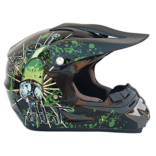 Casco da Cross per Bambini, Bambini Full Face Motociclo Helme D.O.T Caschi per Adulti omologati per Fuoristrada ATV/MX/BMX/DH/Enduro/MTB (Black + Syringe Pattern),XL