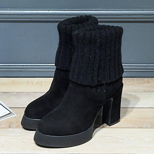 SHOESHAOGE Chaussures Pour Femmes Bottes DAutomne Haut Talon Talon Grossier Boot Bottes Courtes Couleur unie