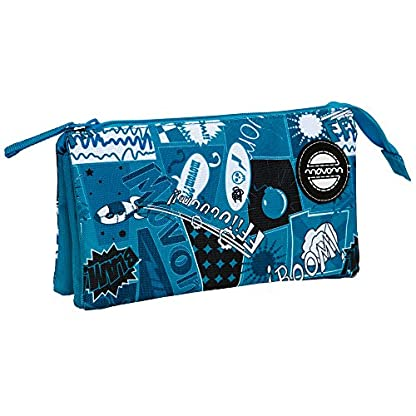 Movom Estuche con Tres Compartimentos, Diseño Comic, Color Azul, 1.32 Litros