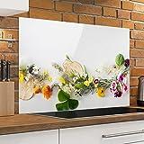 Bilderwelten Spritzschutz Glas - Frische Kräuter mit Essblüten - Quer 2:3, Wandbild Küchenrückwand Küchenspiegel Küchenspritzschutz Glasrückwand Küche Spritzschutz Herd, Größe HxB: 40cm x 60cm