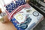 LifeisPerfect 100% Baumwolle 4 Stück Amerikanische Flagge Motorrad Drucken Vintage Style Bettwäsche Doppelbett Bettwäsche ab