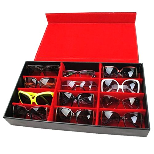 JINHUGU 12 Slot Grid Brillen Display Ständer Case Box Halter Sonnenbrillen Brille New