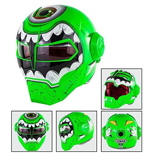 DYM258 Casco Moto D.O.T Certified Motocross Flip Up Maschera Aperta Casco Moto Full Face Casco, Iron Man Transformers- M, L, XL, Green Big Eye Monster,M57∽58CM