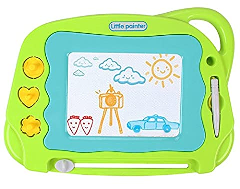 Magnetic Drawing Board Mini Travel Magna Doodle, Erasable Writing Sketch Colorful Pad Area Educational Learning Toy for Kid / Toddlers/ Babies with 3 Stamps and 1 Pen, Green