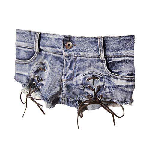 Xia weibliche koreanische Version der niedrigen Taille Riemen Shorts Gezeiten sexy Hotpants Europa und die Vereinigten Staaten Nachtclub Show Babes Frauen schlank (Farbe : A, größe : M)