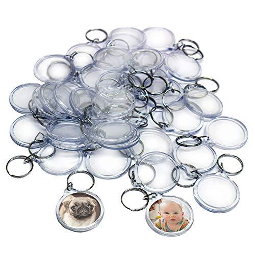 Kurtzy 50 Transparente Acryl Foto Schlüsselanhänger Durchmesser - Brieftaschen freundlicher Schlüsselring für Benutzerdefinierte Personalisierte Bilder - Geeignet für Frauen und Männer
