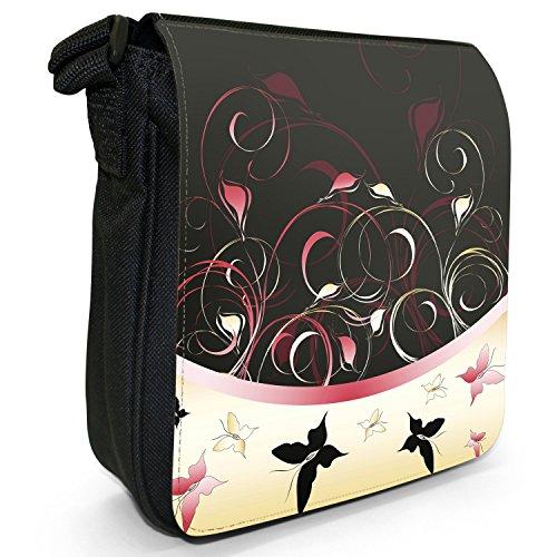 Elegante farfalla Vortici piccolo nero Tela Borsa a tracolla, taglia S rosso