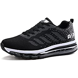 Fexkean Homme Femme Baskets Chaussures de Course Sneakers Outdoor Running Sports Fitness Gym Shoes - Noir - 45 EU
