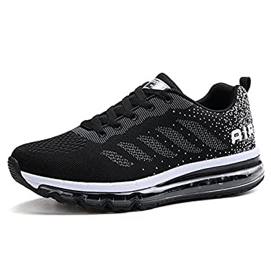 e9c0f179a034 Fexkean Homme Femme Baskets Chaussures de Course Sneakers Outdoor Running  Sports Fitness Gym Shoees - Noir