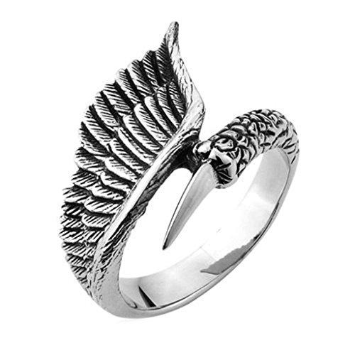 Epinki Edelstahl Herren Ringe, Herrenringe Damen Gothic Retro Bird Ring Gr.54 (17.2) (Die Dame Aus Der Birds Kostüm)
