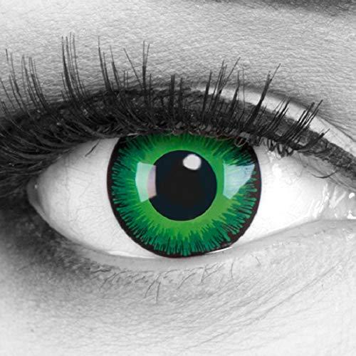 Grüne farbige Kontaktlinsen Funnylens 1 Paar gift Elfe Crazy Fun Shining Jahres Perfekt zu Halloween, Karneval, Fasching oder Fasnacht mit gratis Kontaktlinsenbehälter ohne - Dunkle Elfen Kostüm Kontaktlinsen