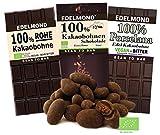 Edelmond Bio 100% Kakao Schokoladen-Paket, alles aus nur 1 Zutat: Edel-Kakaobohnen. Handgemacht, vegan & fair-trade. Extra Extra herb!