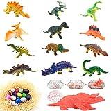 Qiandier 12 stücke Dinosaurier Modell Mit 10 stücke Dinosaurier Eier Magische Schlüpfen Wachsende Party Spielzeug Kinder Geschenk Mehrere Stile und Farben