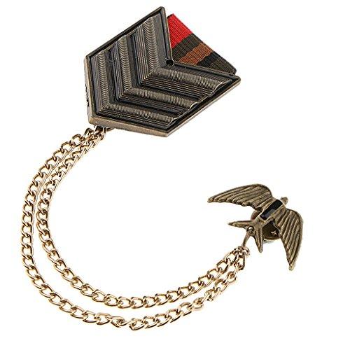 (non-brand MagiDeal 1 Stück Militär Uniform Medaille Pin Elegante Schulterklappe Brosche mit Kette - Unisex Schmuck)