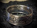 Coinring, Münzring, Ring aus 1/2 Dollar Kanada 1967, 800er Silber - Double Sided coin ring - Größe 67 (21.3), handgeschmiedetes Unikat