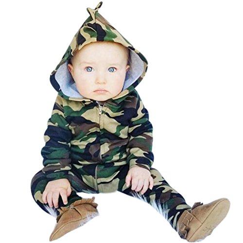PINEsong Säugling Neugeborenes Baby Mädchen Tarnung mit Kapuze Spielanzug Overall Kleidung Outfit (70, Grün) (Hübsches Mädchen Outfits)