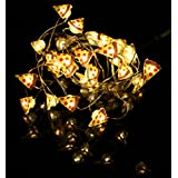 ERGEOB Silberdraht LED Lichterkette 20er LED 2M – Weihnachten Dekorative Leuchten Pizza