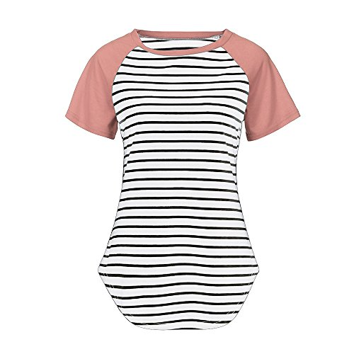 XNBZW Tops Women's Summer Short Sleeve Block Tunic Striped Patchwork O-Neck Casual T Shirt Blouse Nylon Coat Petite